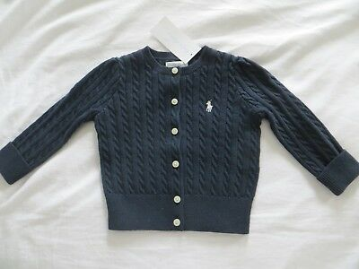 BNWT Girls Ralph Lauren Navy Blue Cable Knitted Classic Cardigan Age 12 mnths