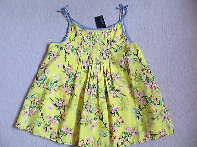 BNWT Girls M&S Autograph Yellow Floral Blue Bird Sleeveless Swing Top Age 9-10
