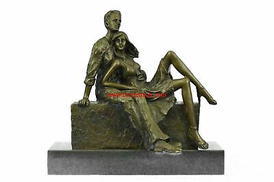 "Romantic Bronze Sculpture of a Young Couple Embracing 11"" x 3"""