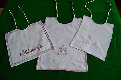 3 VINTAGE BABY BIBS Embroidered Mice, Rabbit, Flowers