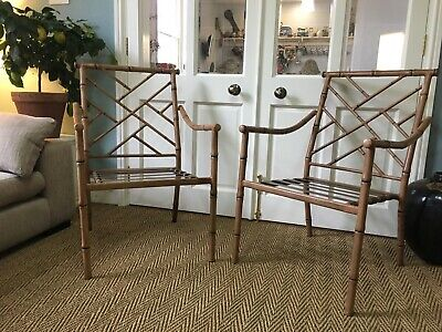 Set 4 Mid Century Aluminium Faux Bamboo dining Garden chairs Hollywood Regency