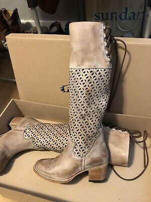 d13d9cba8eb Freebird by Steven CREEK Size 7 Knee high Boots Taupe NIB Lace Up Retail   295