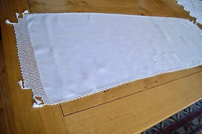 ANTIQUE VINTAGE LINEN TABLE RUNNER SIDEBOARD DRESSER SCARF Embroidered Monogram