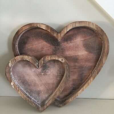 Heart Shaped Nesting Wooden Trays Serving Natural Rustic Display Tea Set 2