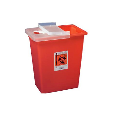 Sharps Container 8 Gallon Red Hinged Lid Multi-Purpose SHARP Disposal *FREE S&H*