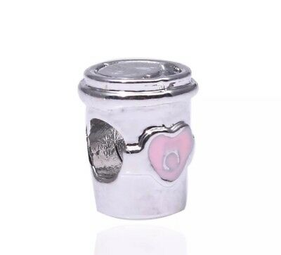 Drink To Go Inspired Coffee Cup Charm Bead Silver Plated & Pink Enamel - CH31