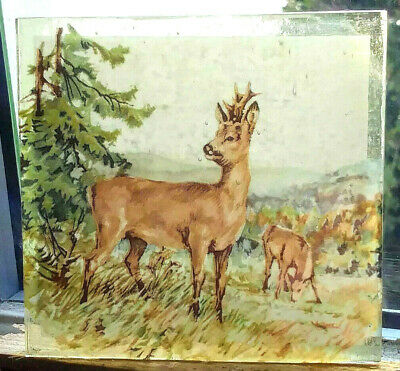 Stained Glass - Roe Buck Deer vintage pane Kiln fired transfer painted rare