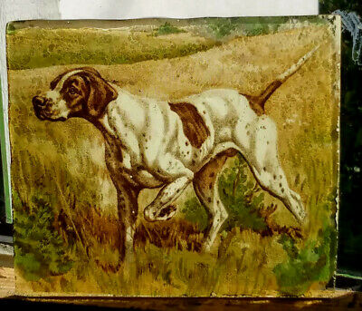 Stained Glass English Pointer Dog Pet - Kiln fired rare transfer fragment pane