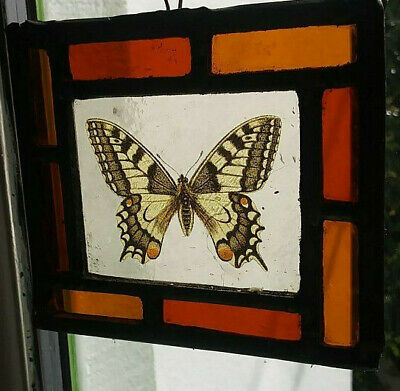 Stained Glass Butterfly panel - Leaded kiln fired.hanging suncatcher vintage!