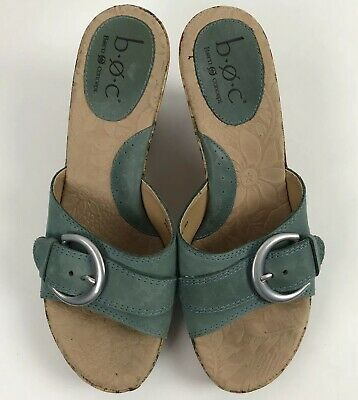 cd795e7c522 B.O.C BORN CONCEPT Womens Slip On Sandals Size 9 Teal Wedge Buckle ...