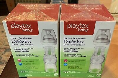 Playtex Drop Ins Baby NEW Two Boxes of Nurser Bottle 100 Liners each - 200 TOTAL