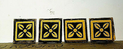 Stained Glass - Kiln fired amber painted squares pieces x 4