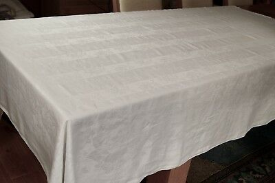 "ANTIQUE/VINTAGE IRISH LINEN DAMASK TABLECLOTH Roses and Stripes 86"" x 70"" #T55"
