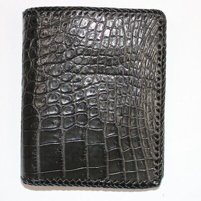 knit double border soft Crocodile Leather Skin Men/'s bifold wallet VIP