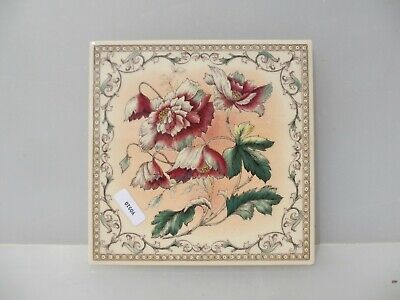 Ceramic Tile Vintage Floral Flower Flowers Art Nouveau Old Vintage / Retro