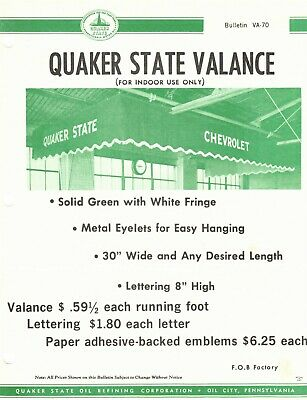 """Vintage 1970 QUAKER STATE """"INDOOR VALANCE"""" Jobbers CAT SELL SHEET Advertising"""
