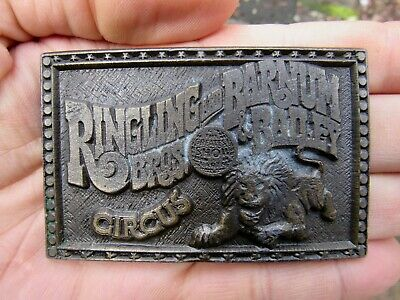 Vtg RINGLING BROS Belt Buckle LION Circus Instyle Greatest SHOW Pewter RARE VG+