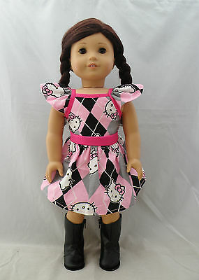 """Hello Kitty pink plaid dress fits american girl dolls and other 18"""" dolls"""