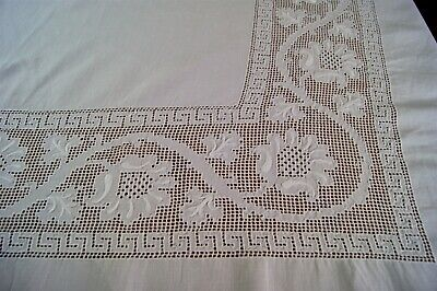 """ANTIQUE WHITE LINEN TABLECLOTH or BEDSPREAD Embroidered Punchwork 85"""" x 72"""" #S15"""