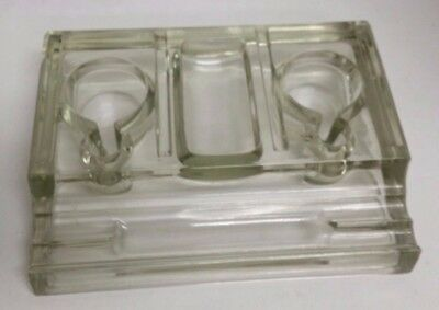 Antique Writing Ink Stand Clear Glass Double Well Pen Rack INKWELL Q3 C11