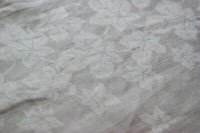 "VINTAGE WHITE COTTON DAMASK LINEN TABLECLOTH Ivy Leaves 64"" x 50"" #T43"