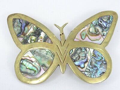 VINTAGE 70's MEXICAN ART WORK SOLID BRASS ABALONE INLAY BUTTERFLY BELT BUCKLE 3""
