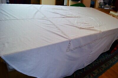 VINTAGE ROUND WHITE COTTON TABLECLOTH Embroidered Flowers Drawn Thread 220cm T32