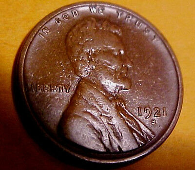 1921-S Lincoln ~Sharp Gem Circulated ~Perfect Coffee Color  ~Scarce ☆Make Offer☆