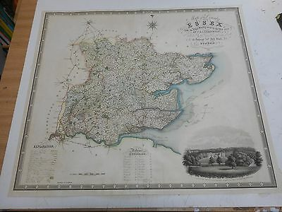 100% Original Large Essex  Map By Greenwood C1834 Hand Coloured