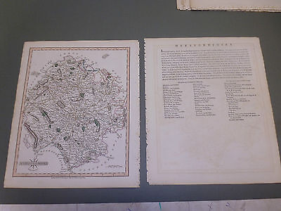 100% Original Herefordshire Map By John Cary C1809 Vgc Original Colour