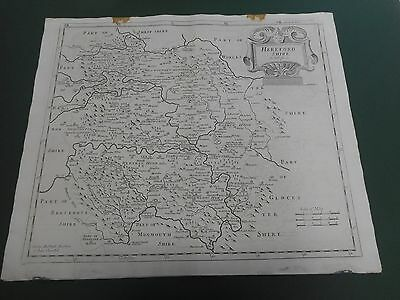 100% Original Large Herefordshire Map By Robert Morden C1722 Low Post