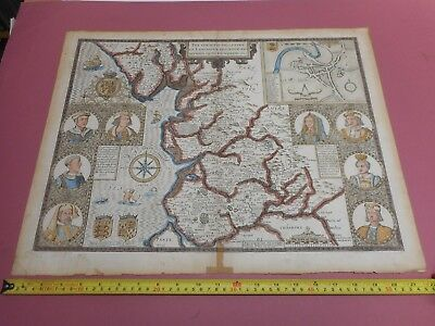 100% Original Large Lancashire Map By John Speed C1676 Vgc Hand Coloured
