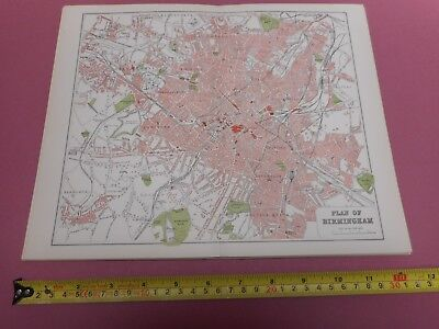 100% Original  Birmingham Map  By Mackenzie/Weller  C1890 Vgc Railways