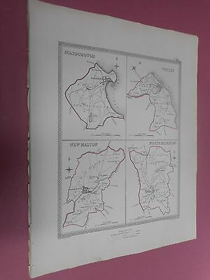 100% Original Scarborough Whitby Malton Plan Map By Creighton C1842 Vgc