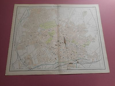 100% Original Large Nottingham  Map  By Bartholomew C1890 Vgc Railways