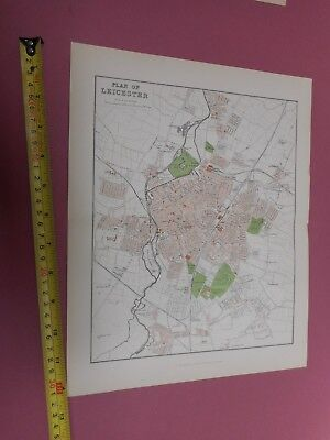 100% Original Leicester Map By Mackenzie/Weller  C1890 Vgc Railways