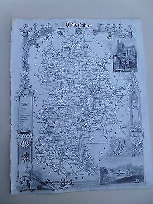 100% Original Bedfordfshire Map By Moule C1848 Vgc Railways