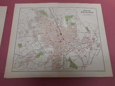 100% Original  Bradford Map  By Mackenzie/Weller  C1890 Vgc Railways
