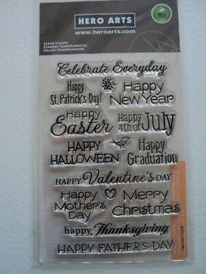 Hero Arts Poly Clear Clear Stamps Set Occasions Cl498 Bnip *Look*