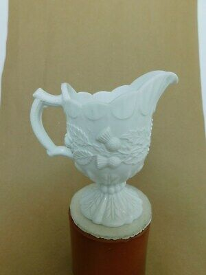 Antique Victorian Davidson White Pressed Glass Thistle & Shamrock Milk Jug.