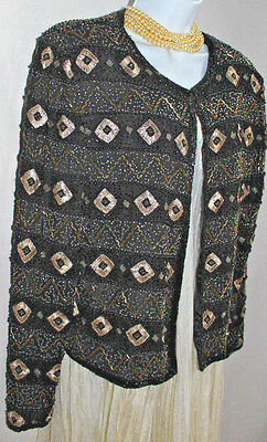 PAPELL EVENING BOUTIQUE Black Beaded Silk Jacket Sz L Gold Embroidery Lined