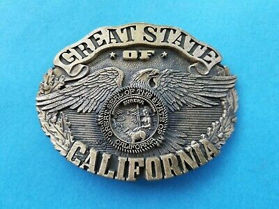 Great State of California Belt Buckle Ltd Ed #40 State Seal Eagle Solid Brass