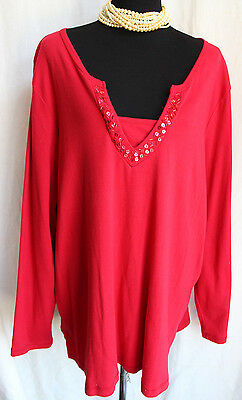 01c373fb WHITE STAG TEE Red Cotton Knit Top 5X Sequin V-Neck W/ Insert Long ...