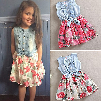 Kids Girls Floral Princess Denim Mini Dress Summer Bow-Knot Party Sundress 2-8Y