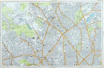 LONDON, 1919 - HIGHGATE, ISLINGTON, KENTISH TOWN, HAMPSTEAD Original Antique Map