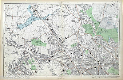 LONDON - Antique Map / Street Plan, HAMPSTEAD, WILLESDEN, NEASDEN - BACON, 1910.