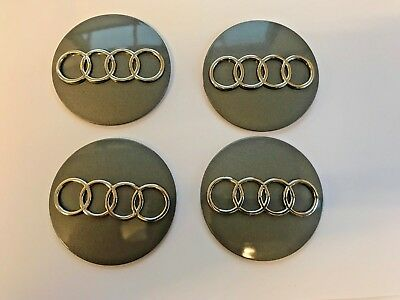 Badge Emblem - 4 x Audi Alloy Wheel Centre Caps 56 mm Plastic Raised Sticker.