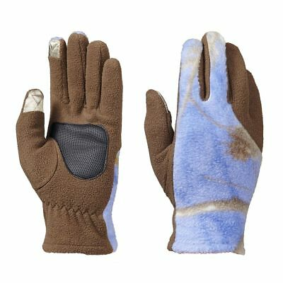 Realtree Purple Blue Camo Shooting Gloves, Ladies Hunting Touch Fleece