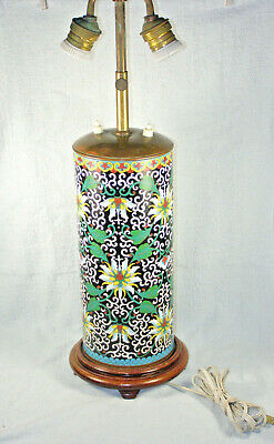 Outstanding Antique Meiji Japanese Cloisonne Cylinder Lamp - Peony