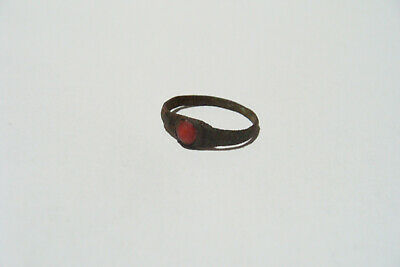 Beautiful Ancient Viking Kievan Rus Ring Red Insert